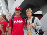 Ryan Hall with KBHR's Rick Herrick at the Olympics in Beijing (and Hall's wife, Sara, at left). For detailed Olympics coverage from August 2008, you can visit KBHR's 2008 Archive, accessible from our home page under Big Bear News at top left.