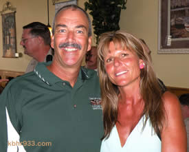 Longtime Big Bear residents Dave and Diane Bradley (here at a lunch in celebration of Dave at Maggio's today) are, 19 years later, staying on the mountain, though Dave will now oversee CHP operations in the Needles area.