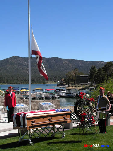 This morning's lakeside Memorial Day ceremony was hosted by the Big Bear Valley Marine Corps League Detachment 1038 (including Steve Schindler and Jerry Kinney, pictured) and the American Legion Post 584.
