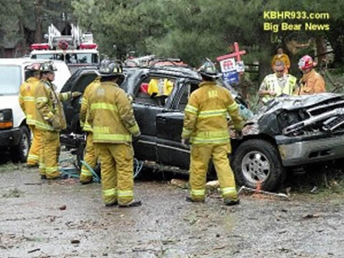 The snapping of a tree in stormy weather results in a fatality on Catalina Road in Big Bear Lake on the morning of June 3.