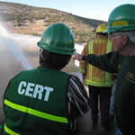 CERT members are identified by their green vests during emergencies.