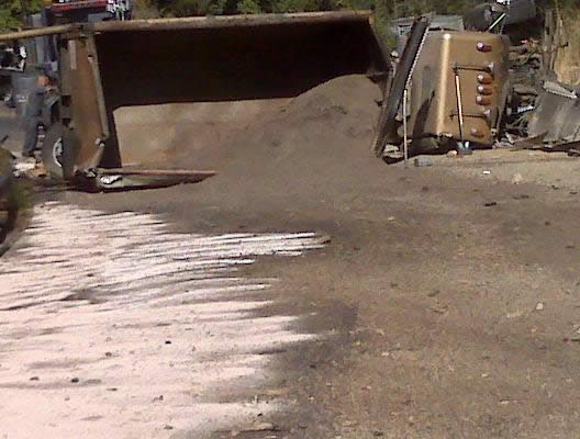 CalTrans provided us with this photo of the overturned truck on Highway 330 today.
