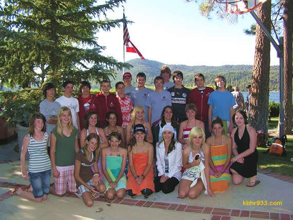 """Thirteen Big Bear families hosted 13 students from Abtenau, Austria in July 2007, and here the 26 """"exchange buddies"""" reunite for a lakeside BBQ. This summer, 15 Big Bear students, ages 11 to 14, spent three weeks in Austria through the Sister City program."""