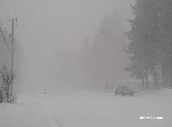 Do you really need to be on the road today? Here's what mid-day visibility looks like on Big Bear Boulevard.  (If you are out, be sure to turn on headlights!)