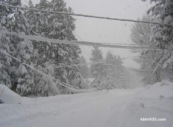 So much snow! Heavy snow on tree limbs and power lines has accounted for many electric service outages since the first of storms kicked up on Monday.