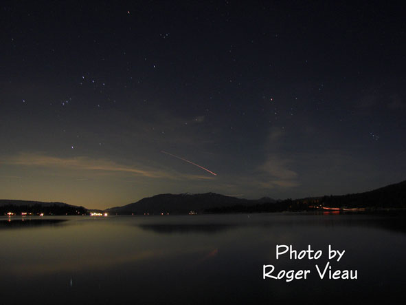 Vandenburg Rocket Launch Seen Over Big Bear Lake