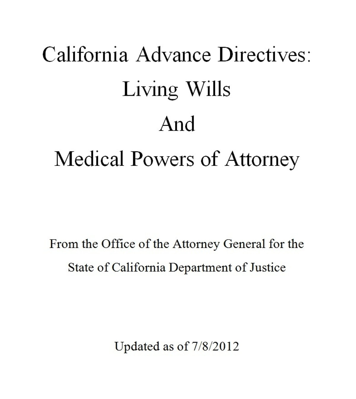 California Advance Directives Living Will And Medical Power