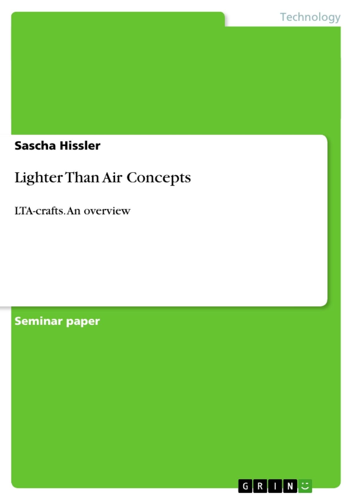 Lighter Than Air Concepts Ebook By Sascha Hissler