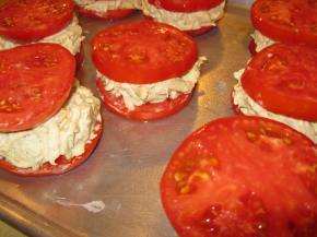My favorite summer dish - tomato stuffed with crabcake...