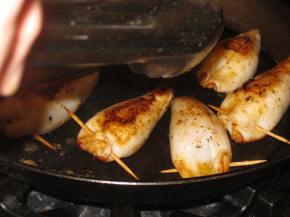 Cooking squid.