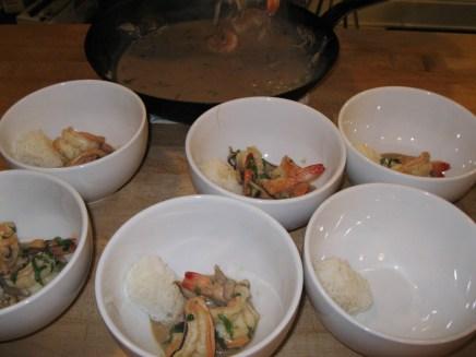 Coconut shrimp soup set-up.