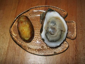 Twice-baked potato, oyster style, and a half-shell