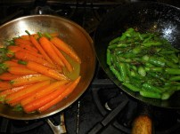 Braised carrots and asparagus