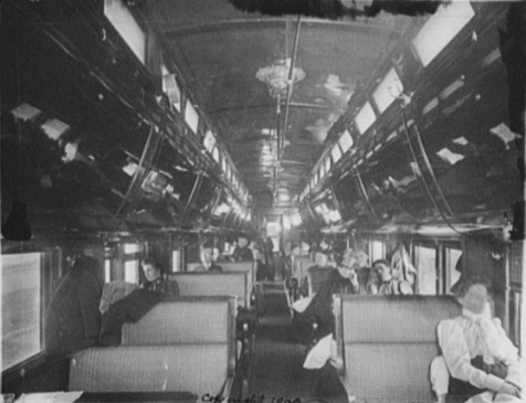 The interior of a Chicago and Alton Railroad Pullman car circa 1900. Photo by Detroit Publishing Co, c. 1900. Library of Congress.