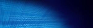 binary data stream on gradient blue background