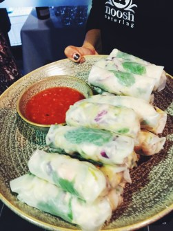 Lime and crab rice paper rolls
