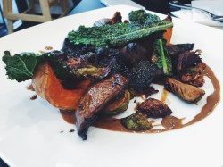 slow roasted mushrooms – seasonal greens, roasted pumpkin, macadamia black garlic tofu (vg, gf)