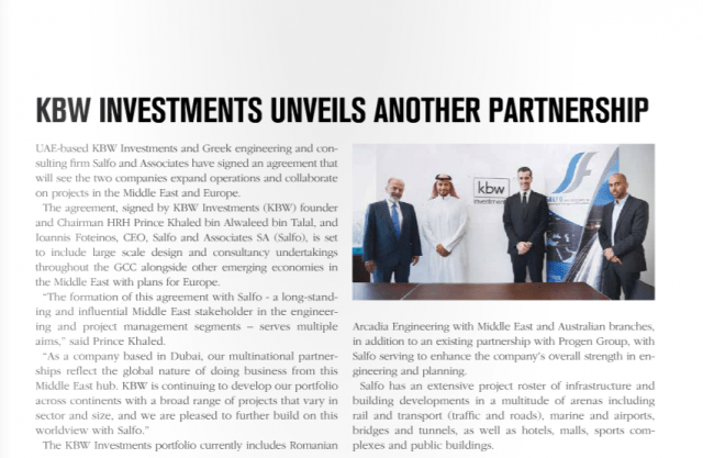 Construction Business News ME August 2016 edition featuring the KBW Investments partnership agreement with Salfo and Associates SA.