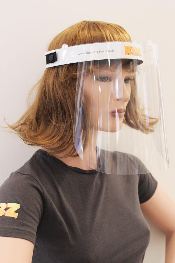 Klappbares Transparentvisier bedruckt und personalisiert
