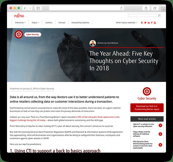 Fujitsu blog UK website redesign