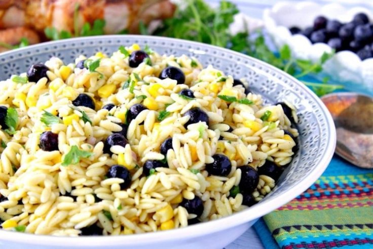Blueberry orzo pasta salad