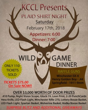 Plaid Shirt Night at KCCL February 17, 2018 at 6 p.m.