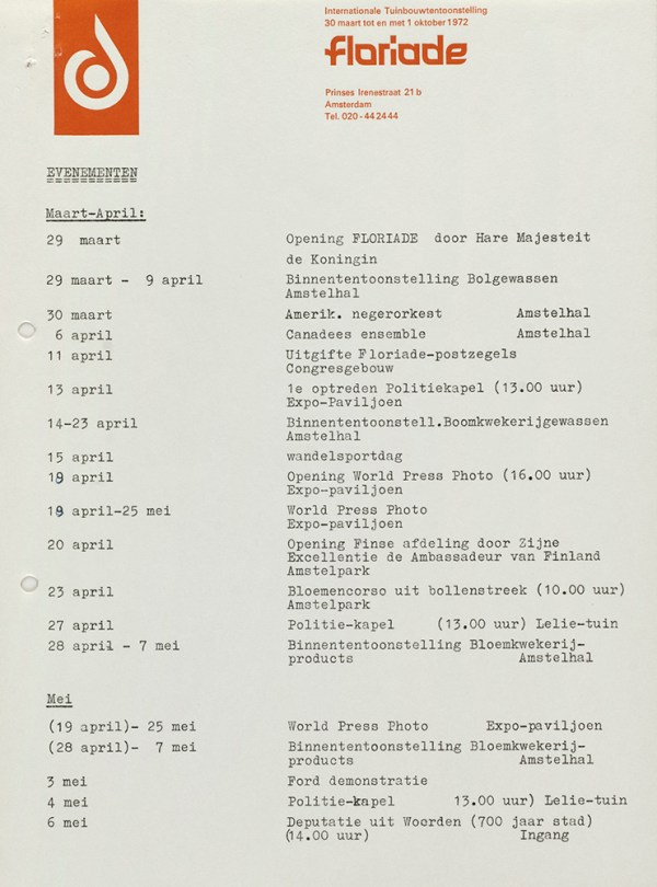 Page 1 of 4 of the Floriade program, 1972