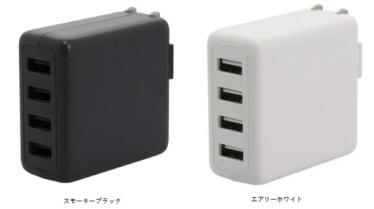 【新商品】国内最小最軽量108gのコンパクトサイズのUSB Type-A×4ポート装備の AC充電器が発売