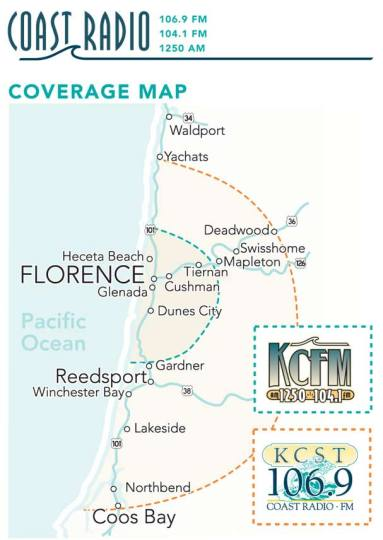 KCST 106.9 fm, 1250 am and KCFM 104.1 fm area coverage map