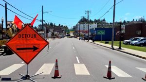 Traffic was re-routed around the core downtown area in North Bend Wednesday as officials investigated what they thought was an explosive device. (City of North Bend photo)