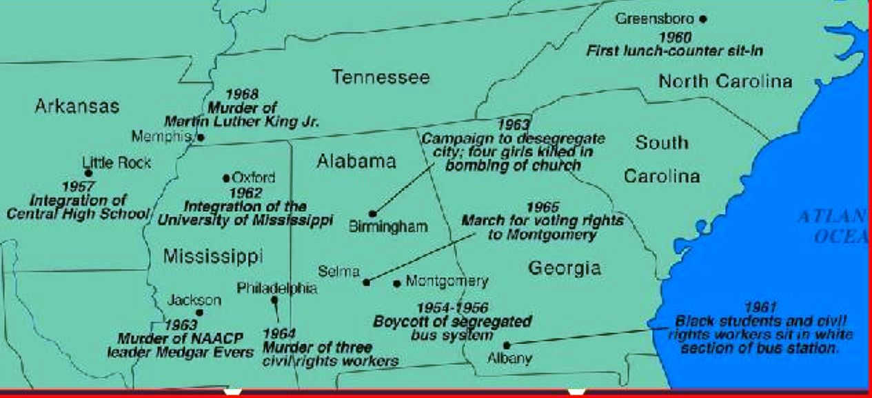 Map, key civil rights events