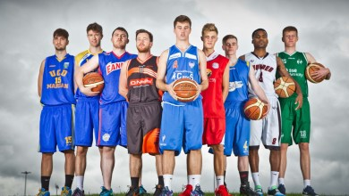 Basketball Ireland National League Season Launch and Hula Hoops National Cup Draw, National Basketball Arena, Tallaght, Dublin 23/9/2015 Pictured today (L-R) Dustan Moreira (UCD Marian), Diarmuid O'Shea (UL Eagles), Ian Lynch (Eanna), Conor Gordon (Pyrobel Killester), Adrian O'Sullivan (C&S UCC Demons), Sean Flood (Templeogue), James Harding (DCU Saints), Kaylim Noel (GCD Swords Thunder) and Ronan O'Sullivan (SSE Airtricity Moycullen) Mandatory Credit ©INPHO/Morgan Treacy
