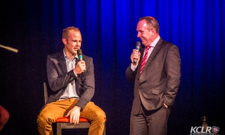 9-time All-Ireland winner Tommy Walsh speaks to Brendan Hennessy at Henry Shefflin's book launch on Thursday 24 September 2015. Photo: Ken McGuire/KCLR