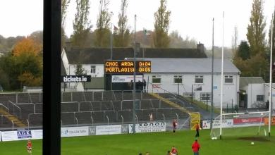 The half time score at Netwatch Cullen Park between Palatine and Portaloise in the Leinster senior club football championship. Photo: Kevin McGillicuddy/@kclr96fm