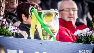 The ribbons on the Intermediate championship cup would turn to green and yellow as Bennettsbridge picked up a 1-16 to 1-14 victory over Ballyragget. Photo: Ken McGuire/KCLR