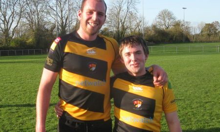 Smiling after their win against Newbridge and sporting their new Club strip are Carlow Captain Wes Shirley, playing in the 2nd Row and try scoring winger Mark Elmes, who is credited with the design of the new Carlow Jerseys. Photo: Carlow Rugby Club