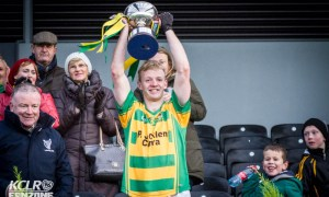 Bennettsbridge captain Enda Morrissey lifts the Leinster Intermediate Club Hurling Championship trophy aloft at Nowlan Park on Saturday 28 November 2015. Photo: Ken McGuire/KCLR