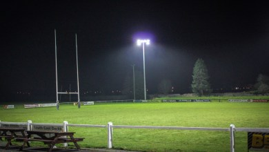 Carlow Rugby Club under the lights at Oak Park. Photo: Stephen Byrne/KCLR