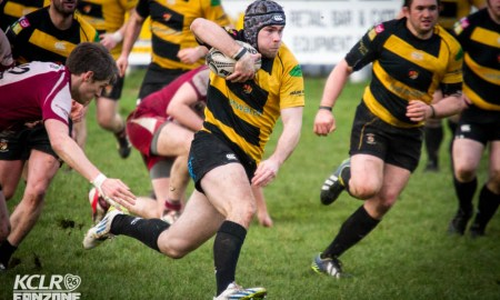 Carlow pictued in rugby action against Portarlington at Oak Park. Photo: Ken McGuire