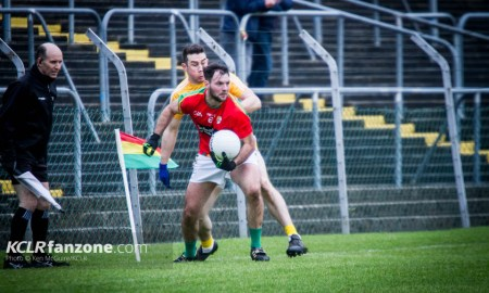 Carlow in football action against Antrim at Netwatch Cullen Park. Photo: Ken McGuire/KCLR