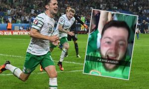 Robbie Brady celebrates his winner against Italy in Group E and, inset, KCLR's Kevin Regan