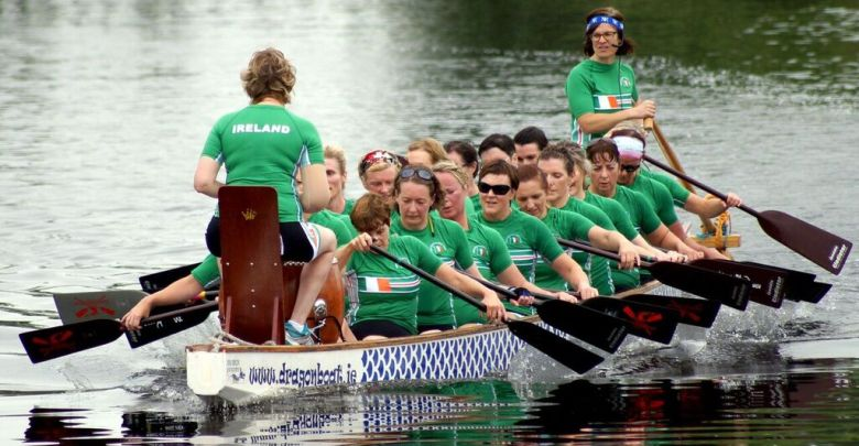 The Irish women's dragon boat team heading to Rome. Photo Credit: Shane Lakes