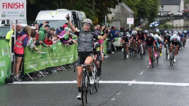 Britain's Eileen Roe riding for WV Breda Maniue.nl team wins Stage Six Clarecastle to Ennis of the An Post Ras na mBan, Ireland. Photo:Lorraine O'Sullivan