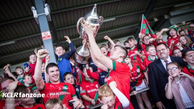 Palatine's Jason Kane lifts the Conlon Cup for the second successive year at Netwatch Cullen Park on Sunday 9 October 2016. Photo: Ken McGuire/KCLR
