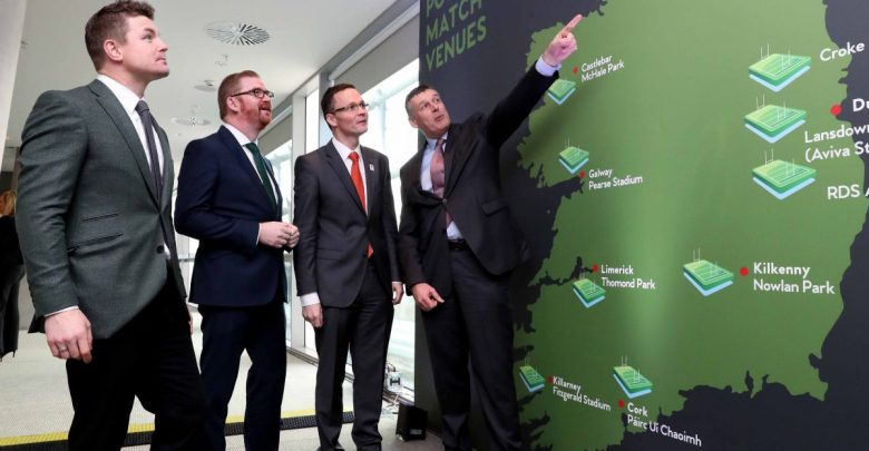 Pictured at the bid announcement for the 2023 Rugby World Cup in the Aviva Stadium were (L-R) Brian O'Driscoll, Simon Hamilton, Minster for the Economy, Patrick O'Donovan TD, Minister of State for Tourism and Sport and Philip Browne, CEO of the IRFU Mandatory Credit ©INPHO/Billy Stickland
