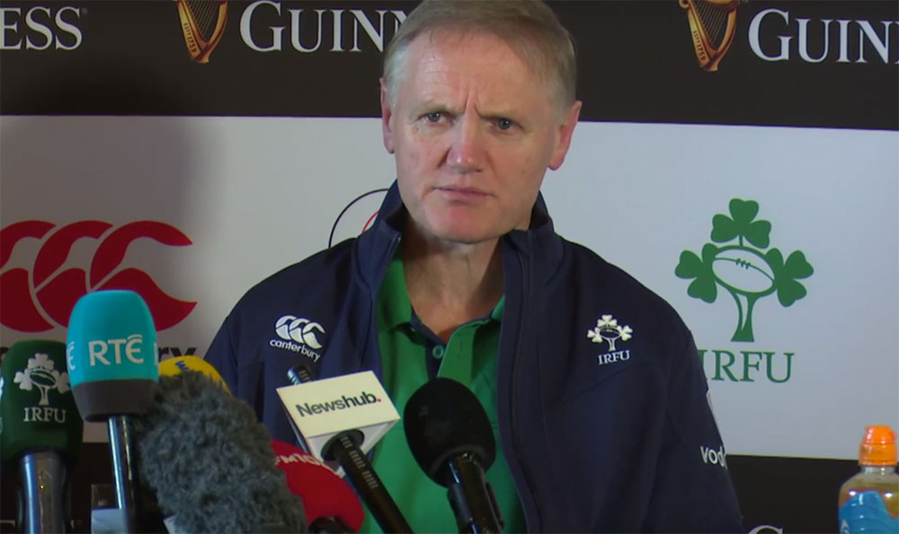 Joe Schmidt pictured announcing Ireland's XV to face New Zealand in Dublin