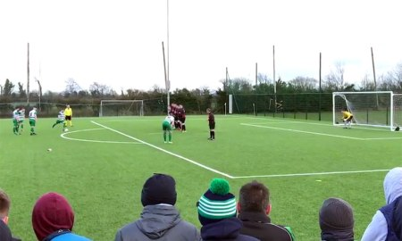 Conor English strikes to give Evergreen a 2-0 lead over Willow Park. Screengrab: EvergreenFC/Twitte