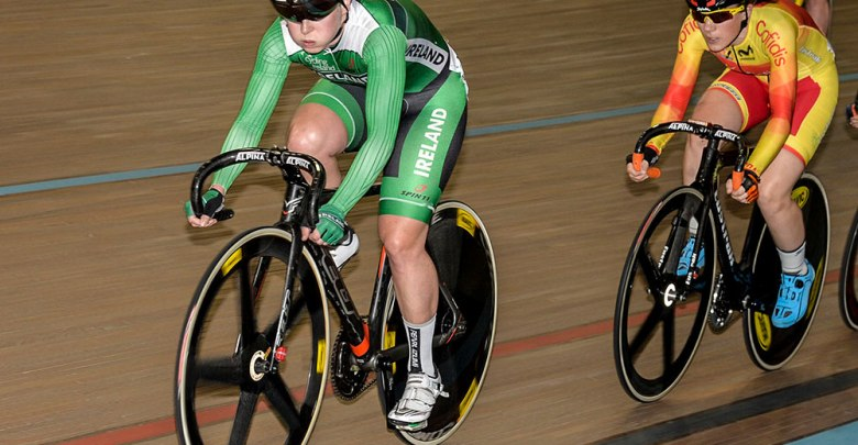 Galway's Lydia Gurley in track action for Team Ireland. Photo: Cycling Ireland