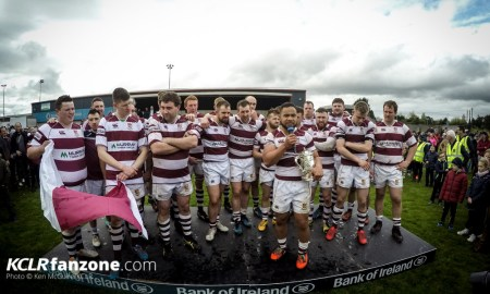 Tullow celebrate on stage with the Provincial Towns Cup. Photo: Ken McGuire/KCLR