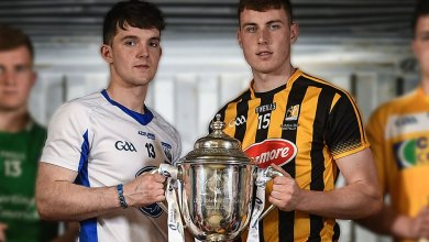 Patrick Curran of Waterford, Liam Blanchfield of Kilkenny. Photo by Ramsey Cardy/Sportsfile